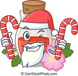 Santa with candy rosehip seed oil on a mascot