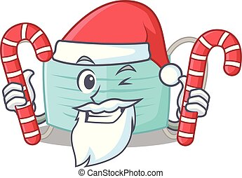 Santa with candy surgical mask in a cartoon wallet
