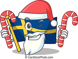 Santa with candy swede flags flutter on character pole ...