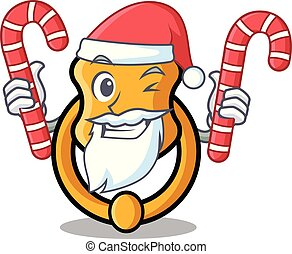 Santa with candy vintage door knocker on mascot cartoon
