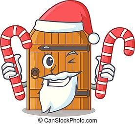 Santa with candy vintage wooden door on mascot cartoon