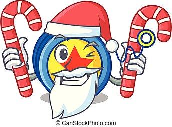 Santa with candy yoyo mascot cartoon style vector...