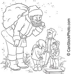 Santa with children outlined