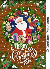 Santa with Christmas bell in Xmas wreath frame