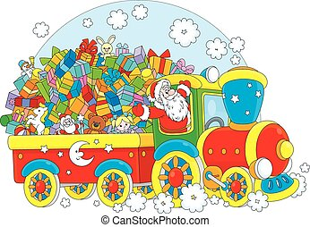 Santa with Christmas gifts - Santa Claus delivering his...