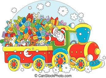 Santa with Christmas gifts - Santa Claus delivering his ...