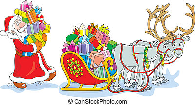 Santa Claus loading presents into his sledge with reindeers