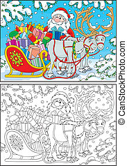 Santa Claus loads his sleigh with Christmas presents, color and black-and-white outline illustrations