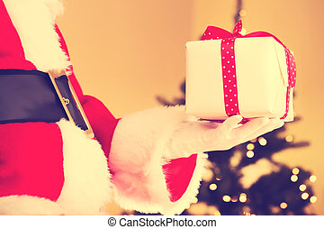 Santa with Christmas present
