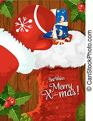 Santa with Christmas sock on wooden background