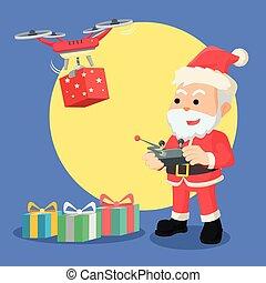 santa with drone illustration design