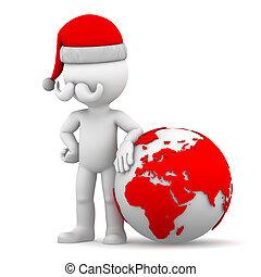 Santa with earth globe