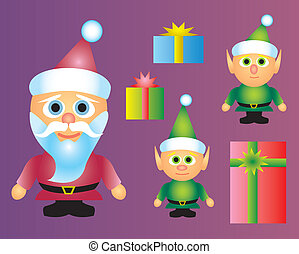 Santa With Elves and Presents