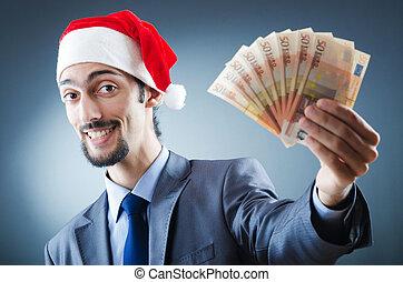 Santa with euro banknotes