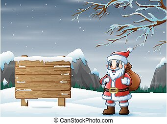 Santa with frozen road sign on winter background