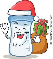 Santa with gift baby bottle character cartoon