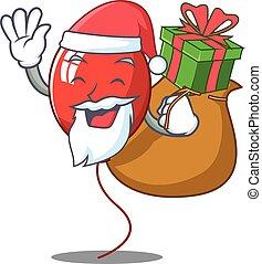 Santa with gift balloon character cartoon style