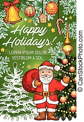 Santa with gift banner for Christmas greeting card