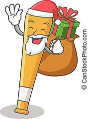 Santa with gift baseball bat character cartoon