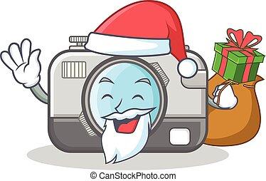 Santa with gift camera caharacter cartoon design