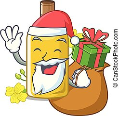 Santa with gift canola oil poured into cartoon glass vector ...
