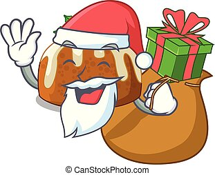 Santa with gift christmas pudding isolated on the mascot