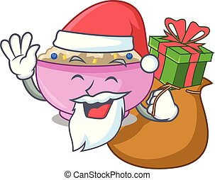 Santa with gift cooked whole porridge oats in cartoon pan