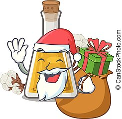 Santa with gift cottonseed oil at the cartoon table vector ...