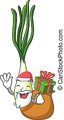 Santa with gift fresh scallion isolated on the mascot vector...