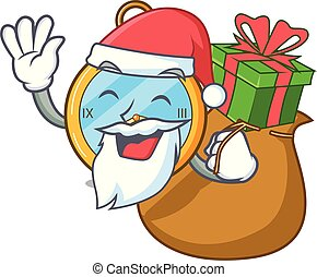 Santa with gift gold vintage clock with picture cartoon