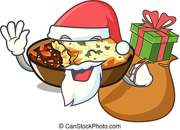 Santa with gift gratin is baked in cartoon oven