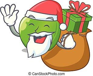 Santa with gift green smith apple isolated on cartoon vector...