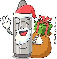 Santa with gift grey crayon in a bag cartoon