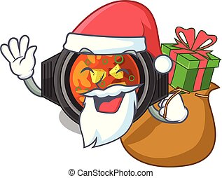 Santa with gift kimchi tighe above the cartoon table vector...