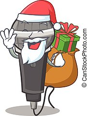 Santa with gift microphone cartoon character design
