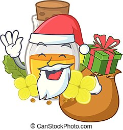 Santa with gift mustard oil in the cartoon shape vector ...