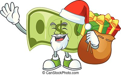 Santa with gift paper money dollar for price profit.