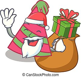 Santa with gift party hat mascot cartoon vector illustration