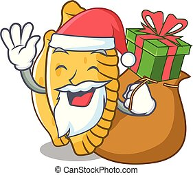 Santa with gift pastel mascot cartoon style vector ...