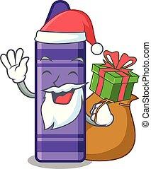 Santa with gift purple crayon in a mascot bag