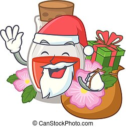 Santa with gift rosehip seed oil on a mascot