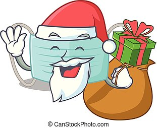 Santa with gift surgical mask in a cartoon wallet