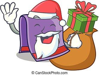 Santa with gift towel for bath mascot vector illustration