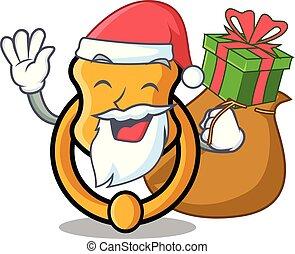 Santa with gift vintage door knocker on mascot cartoon