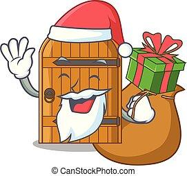 Santa with gift vintage wooden door on mascot cartoon