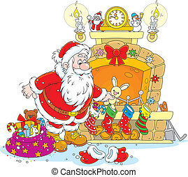Santa with gifts - The night before Christmas, Santa Claus...