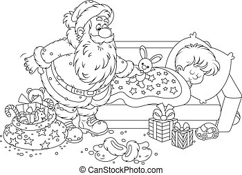 Santa with gifts for a child - The night before Christmas, ...