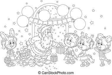 Santa with gifts for children - Black and white vector ...