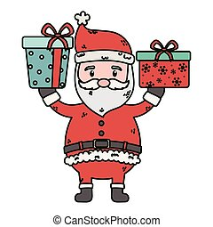 santa with gifts in hands celebration merry christmas