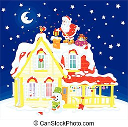 The night before Christmas, Santa Claus putting his holiday presents in a chimney on a snow-covered roof of a house